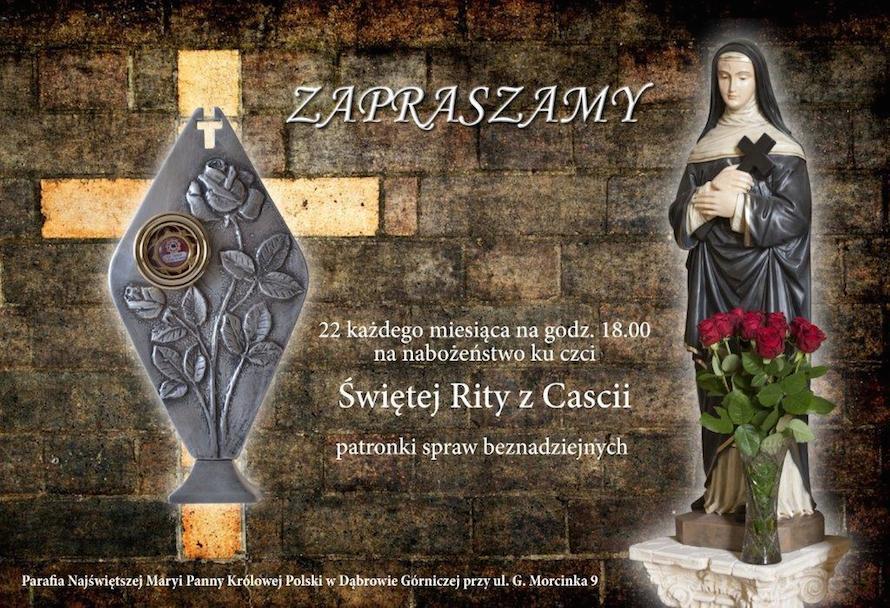 22 każdego mca, g.18:00 - Nabożeństwo ku czci Św. Rity z Cascii